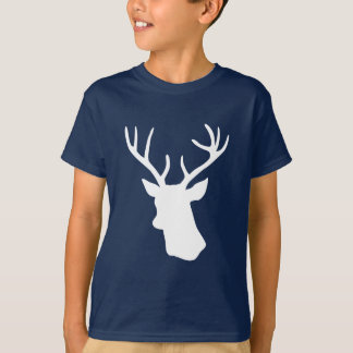 White Deer Head Silhouette - Turquoise T-Shirt
