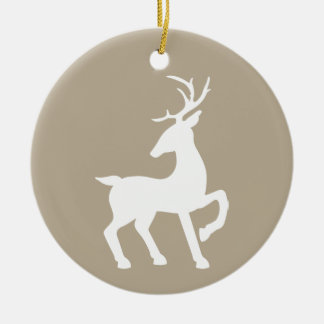 White Deer On Beige & Custom Text On The Back Christmas Ornament
