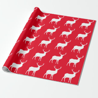 White Deer on Red Wrapping Paper