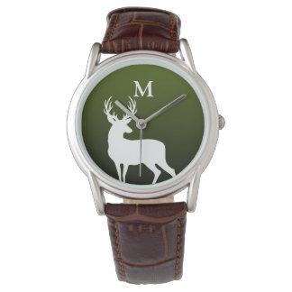 White Deer Silhouette Monogram Green Men's Watch