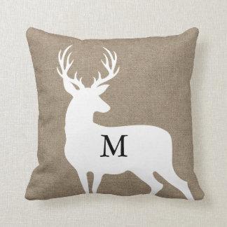 White Deer Silhouette Monogram Pillow Throw Cushions