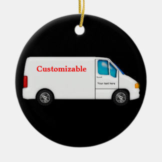 White Delivery Van - Customizable Round Ceramic Decoration