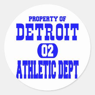 White Detroit Athletic Dept Round Sticker