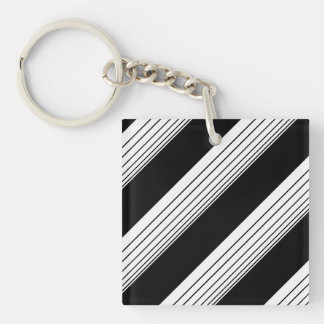 White Diagonal Stripes Double-Sided Square Acrylic Key Ring