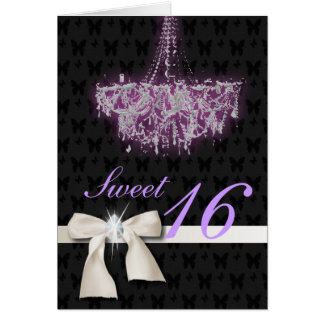 White Diamond Bow Sweet 16 Card