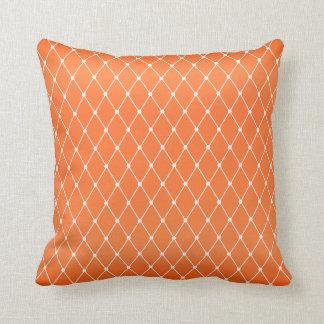 White Diamond Shape Pattern on Orange Cushion