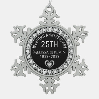 White Diamonds 25th Wedding Anniversary Template Pewter Snowflake Decoration
