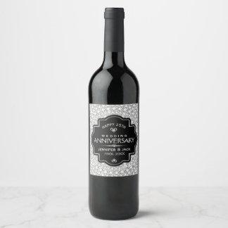 White Diamonds & Black 25th Wedding Anniversary Wine Label