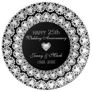 White Diamonds Black Circle- 25th Anniversary Porcelain Plates