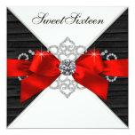 White Diamonds Black Red Sweet 16 Birthday Party Personalized Invitation