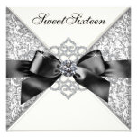 White Diamonds Black White Sweet 16 Birthday Party Invitations