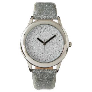 White Diamonds Glitter Circles Pattern Wristwatch
