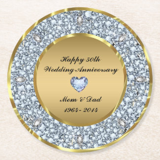 White Diamonds & Gold 50th Wedding Anniversary Round Paper Coaster