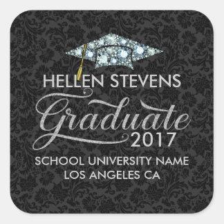 White Diamonds Grad Hat Graduate Typography Square Sticker