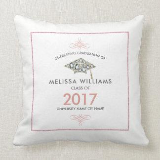 White Diamonds Graduation Hat Class Of 2017 Cushion