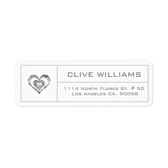 White Diamonds Heart Illustration Silver Frame Return Address Label