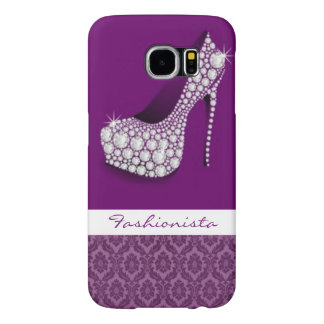 White Diamonds High Heel Purple Damask Design Samsung Galaxy S6 Cases