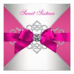 White Diamonds Hot Pink Birthday Party 13cm X 13cm Square Invitation Card
