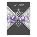 White Diamonds Lavender Purple RSVP 9 Cm X 13 Cm Invitation Card
