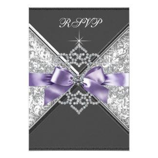 White Diamonds Lavender Purple RSVP Invitation