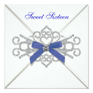 White Diamonds Navy Blue Sweet 16 Birthday Party Invites