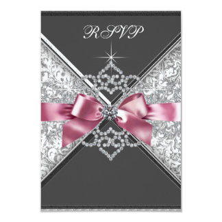 White Diamonds Pink Black RSVP 9 Cm X 13 Cm Invitation Card