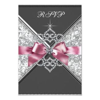 White Diamonds Pink Black RSVP Card