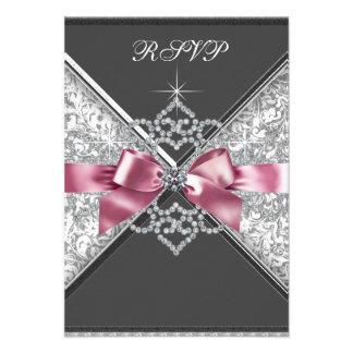 White Diamonds Pink Black RSVP Custom Invitation