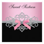 White Diamonds Pink Black Sweet 16 Birthday Party Personalised Announcement