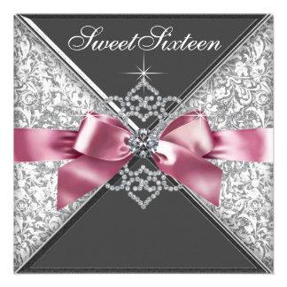 White Diamonds Pink Black Sweet 16 Birthday Party Invites