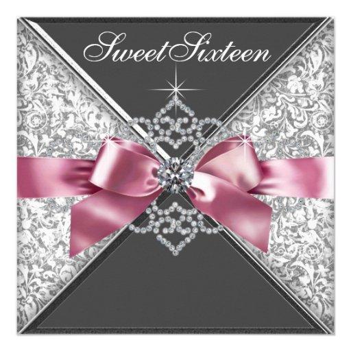 White Diamonds Pink Black Sweet 16 Birthday Party Invitation