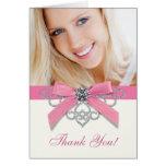 White Diamonds Pink Photo Thank You Cards