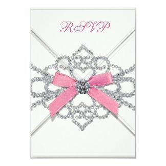 White Diamonds Pink Sweet 16 Birthday Party 9 Cm X 13 Cm Invitation Card