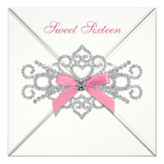 White Diamonds Pink Sweet 16 Party 13 Cm X 13 Cm Square Invitation Card