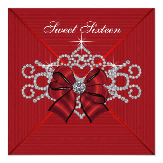 White Diamonds Red Sweet 16 Birthday Party 13 Cm X 13 Cm Square Invitation Card