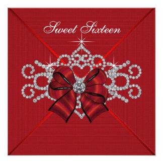 White Diamonds Red Sweet 16 Birthday Party Invitation