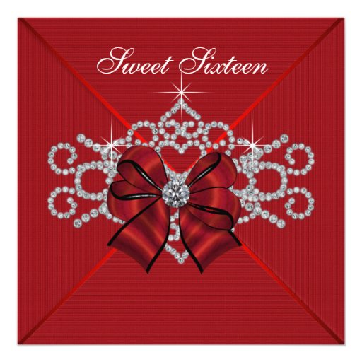 White Diamonds Red Sweet 16 Birthday Party Invitation