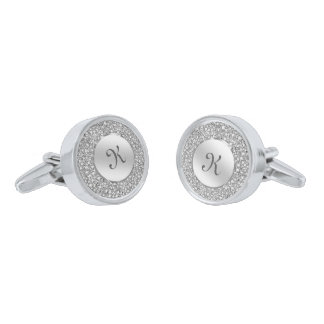 White Diamonds & Sparkles Custom Monogram Silver Finish Cuff Links