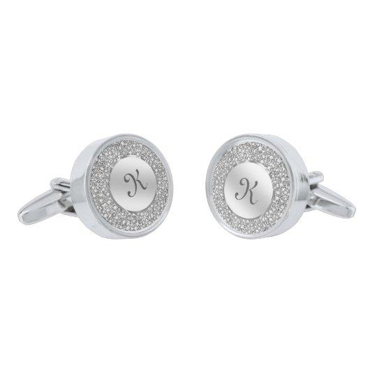 White Diamonds & Sparkles Custom Monogram Silver Finish Cuff Links