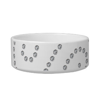 White diamonds swirls pet food bowl