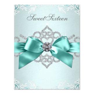 White Diamonds Teal Blue Sweet 16 Birthday Party 11 Cm X 14 Cm Invitation Card