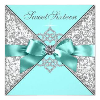 White Diamonds Teal Blue Sweet 16 Birthday Party Invites