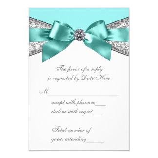 White Diamonds Teal Blue Sweet 16 RSVP 9 Cm X 13 Cm Invitation Card