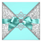 White Diamonds Teal Blue Wedding Card