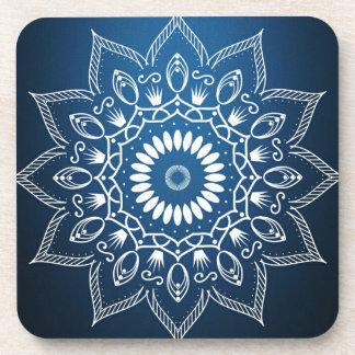 White Digital Flower On Dark Blue Coaster