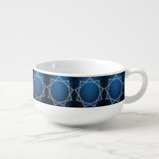 White Digital Flower On Dark Blue Soup Mug