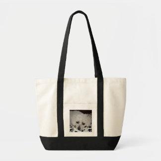 White Dog Impulse Tote Canvas Bags