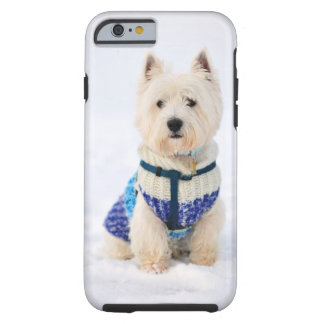 White dog in clothes in the snow. tough iPhone 6 case