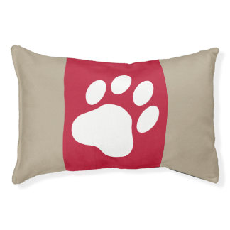 White Dog Paw Silhouette On Red And Beige Pet Bed