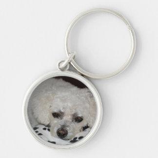 White Dog Premium Round Keychain